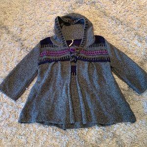 Free People fair isle hooded angora sweater large